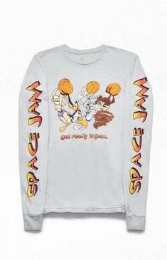 PacSun revives a favorite film with the Space Jam Long Sleeve T-Shirt. This rad throwback tee has a crew neck, long sleeves, and graphics inspired by the film on the front and sleeves. Space Jam Outfit, Pacsun Outfits, Shirt Jacket, T Shirt, Sweatshirt, Fall College Outfits, Future Clothes, Quirky Fashion, Funny Outfits