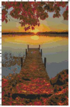 Capture the glory of an early morning sunrise on the lake with this detailed cross stitch pattern. The fall scene is made even more