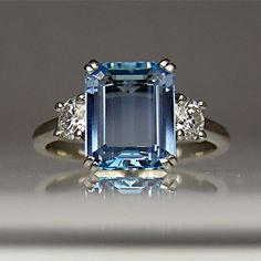 Aquamarine and diamond ring in platinum. - 20 Gorgeous #Aquamarines - Style Estate -