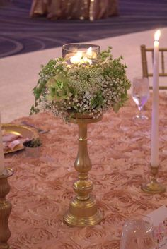 Short gold Candlestick with a floral & candle topper! Small Centerpieces, Wedding Consultant, Set Up An Appointment, Candlesticks, Event Design, Table Decorations, Studio, Floral, Kitchen