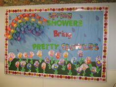 Fun spring bulletin board idea featuring a rainbow and flower theme! http://www.mpmschoolsupplies.com/ideas/4770/spring-showers-bring-pretty-flowers-bulletin-board-idea/