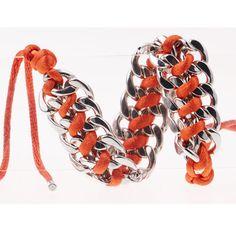 #Bracelet Mode été 2016 Hommes /Femmes en Alliage de Zinc couleur argent et Corde en Coton,couleur #Orange- Neuf sous Blister   Fermoir Original à lacets.  Longueur du Bracelet:Environ 19CM