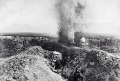 An artillery shell explodes in trenches near Fort de la Pompelle, Reims. WW1.