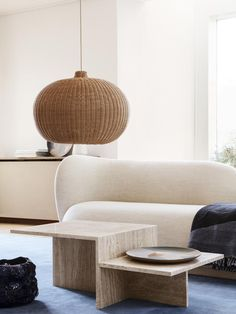 A Sculptural Travertine Side Table Inspired by Japanese Minimalism – Distinct Side Table Design by Ferm Living Living Room Modern, Living Room Decor, Japanese Living Rooms, Minimal Living, Travertine Coffee Table, Japanese Minimalism, Japanese Modern Interior, Japanese Home Decor, Design Bestseller
