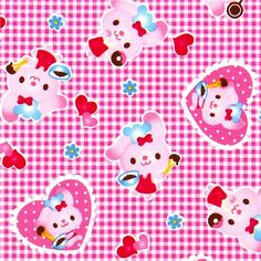 cute fabric with rabbit heart doughnut by Kokka Japan