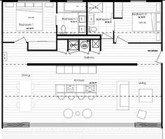 A floor plan for a house made from shipping containers.: