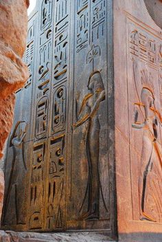 Hieroglyphs on Rameses Colossus in Luxor, Egypt.
