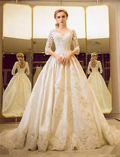 Ball Gown Bateau Court Train Tulle Wedding Dress with Beading Pearl Sequin Lace Ruffle 5560236 2017 – $249.99