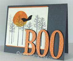 handmade Halloween card featuring Thoughtful Branches skeleton trees and big did cut letters BOO ... great card by  BJ Peters ...Stampin' Up!