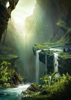 Concept Art Landscape, Fantasy Art Landscapes, Landscape Drawings, Cool Landscapes, Fantasy Landscape, Landscape Art, Landscape Paintings, Art Drawings, Landscape Design