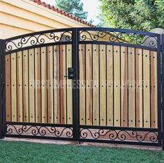 Tuscan Wood Gate - First Impression Ironworks Fence Gate Design, Front Gate Design, Privacy Fence Designs, Main Gate Design, House Gate Design, Door Design, Metal Gates, Wooden Gates, Wrought Iron Gates