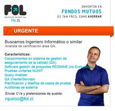 Se busca ingeniero informático www.fol.cl Software, Twitter, Project Management, Engineer, Management