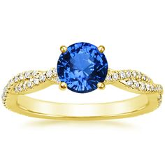 18K Yellow Gold Sapphire Petite Luxe Twisted Vine Diamond Ring (1/4 ct. tw.) from Brilliant Earth
