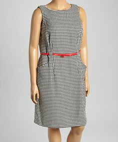Another great find on #zulily! Black & Red Belted Side-Pocket Sheath Dress - Plus by Shelby & Palmer #zulilyfinds