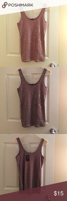 Sequins Express Tank Top Brown sequins tank top. NWT. M. Express. Express Tops Tank Tops