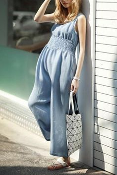 Maternity Casual Pure Color Sleeveless Elastic Waist Jumpsuits – loveinbabe