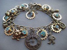Alice in Wonderland Steampunk Charm Bracelet - Alice in Wonderland Jewelry