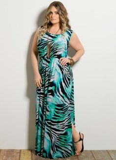 Vestido Longo Fenda Animal Print Plus Size - Quintess