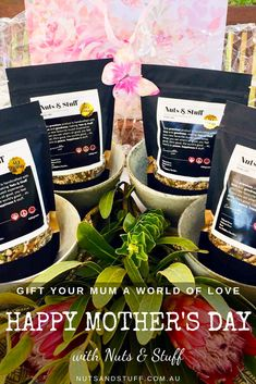 "Give your mum a reason to smile this Mother's Day with our Nuts & Stuff Gift Pack Subscription!   It's a gift that keeps on giving! 4 Nuts & Stuff 450g muesli bags & 4 beautiful China serving bowls, delivered in 4 stunningly-wrapped packages reaching your mum's doorstep 6 weeks apart. Just timed so she'll never run out.  We believe Nuts & Stuff is the ""best brekkie in the world"" - tasty and healthy with the goodness of raw and natural nuts, seeds and fruits. Ain't that for mum? Reasons To Smile, Muesli, Different Recipes, Happy Mothers Day, Feel Good, Serving Bowls, Seeds, Tasty, China"