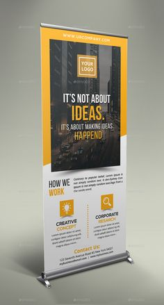 Business Roll Up Banner - Design Pull Up Banner Design, Standing Banner Design, Pop Up Banner, Brochure Design, Brochure Template, Flyer Design, Branding Design, Design Folder, Rollup Design