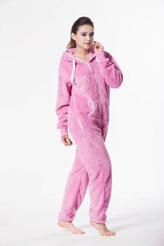Plüsch Overall von Nordic Way Jumpsuit Sportanzug Hausanzug Hoodie in Rosa Adult Pajamas, Girls Pajamas, Onesie Pajamas, Pyjamas, Rompers Women, Jumpsuits For Women, Overall Jumpsuit, Cosy Outfit, Cute Summer Outfits