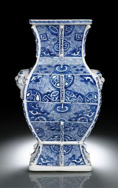 A rare blue and white archaic style hu-shaped porcelain vase, China, Kangxi period