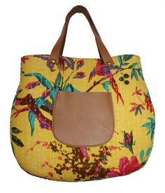 indian kantha bird print handmade handbag woman shoulder shopping Leather Bag #Mankha #ShoulderBag