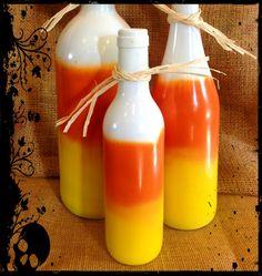 Candy Corn Wine Bottle Centerpiece - Halloween Inspiration Ideas
