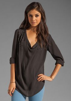 HAUTE HIPPIE Embellished Cowl Blouse in Asphalt