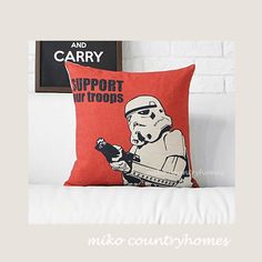 "$15 | Star Wars | Decorative Home Decor Pillow Cover | 45x45cm 18""x18"" #homedecor #throwpillows #pillowcover #starwars #imperialstormtroopers"