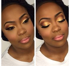 24 Trendy birthday makeup looks dark skin Glam Makeup, Dark Eye Makeup, Gold Eye Makeup, Eye Makeup Tips, Girls Makeup, Makeup Ideas, Black And Gold Eyeshadow, Makeup Products, Makeup Bags