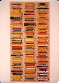 Turn your collections (like this pencil collection) into art.