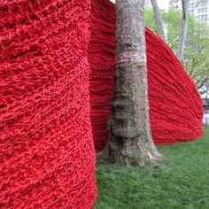 Orly Genger (1979 - ). Red, Yellow and Blue. 2013. Painted rope. At Madison Square Park, NYC.