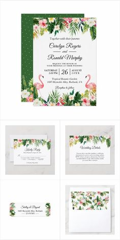 A Tropical Leaves Floral Flamingo Invitation Suite, with items from Invitations to RSVP card, Information Card, Labels, Sign Posters and more. Mason Jar Wedding Invitations, Summer Wedding Invitations, Watercolor Wedding Invitations, Floral Invitation, Floral Wedding Invitations, Invitation Suite, Bridal Shower Invitations, Tropical Leaves, Rsvp