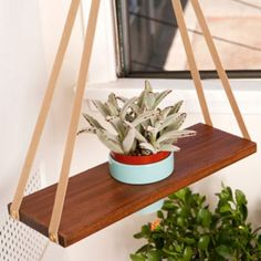 A-Frame Plant Hanger. Pretty effing cool.  http://poketo.com/shop/living/A-Frame-Plant-Hanger
