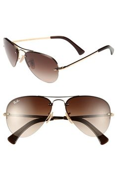 Ray-Ban 56mm Rimless Aviator Sunglasses available at #Nordstrom