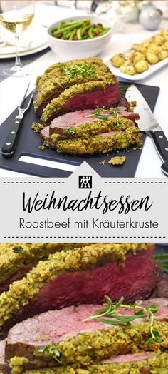Roast beef with herb crust, nut potatoes and bacon beans .-Roastbeef mit Kräuterkruste, Nusskartoffeln und Speckbohnen – ZWILLING Weihnach… Roast beef with herb crust, nut potatoes and bacon beans – ZWILLING Christmas dinner, main course Healthy Eating Tips, Clean Eating Recipes, Cooking Recipes, Healthy Recipes, Bacon Potato, Fried Beef, Cheap Dinners, Budget Dinners, Pasta Dinners