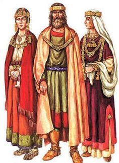 Costumes of the nobles in medieval Russia.