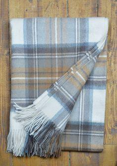 Luxury Cashmere Blanket in Stewart Natural Dress Tartan