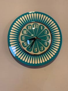 Handmade style Sunburst Orange Formica Wall Clock in Turquoise & with a Funky Bright Turquoise Segment Face from Royale Retro Clock, Vintage Clocks, Antique Clocks, Wall Clock Design, Wall Clock Funky, Cool Clocks, Unusual Clocks, Modern Retro, Shabby Chic Decor