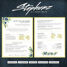 The Alena - CV/Resume Template by Stephumz Design on One Page Resume Template, Simple Resume Template, Creative Resume Templates, Resume Writing Tips, Resume Tips, Resume Cv, Resume Examples, Unique Resume, Business Brochure