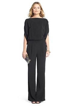 Diane von Furstenberg Dezi Boatneck Jumpsuit The dezi jumpsuit is effortless and chic. With a wide leg and slit dolman sleeves. Button closure at back neck and side zip. Fit is true to size. Long Jumpsuits, Jumpsuits For Women, Schwarzer Overall Outfit, Black Jumpsuit Outfit, Wide Leg, Cute Work Outfits, Work Fashion, Fashion Design, High Fashion