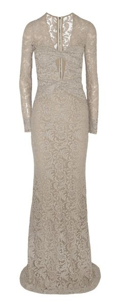 BURBERRY PRORSUM Gray Green Carpet Challenge Cutout Lace Gown  //  lyst.com