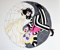 This one is for LadyNorbert . It's based on her Beetlejuice cartoon fanfics known as the Contractually Obligated Chaos series. The idea behin. Life and Death Tim Burton Art, Tim Burton Style, Tim Burton Films, Beetlejuice Cartoon, Lydia Beetlejuice, Tim Burton Characters, Halloween Drawings, Old Shows, Cosplay