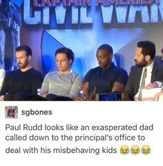 Paul Rudd, Chris Evans, Sebastian Stan and Anthony Mackie Funny Marvel Memes, Dc Memes, Funny Memes, Hilarious, Funny Comics, The Avengers, Avengers Memes, Avengers Headcanon, Superhero Memes