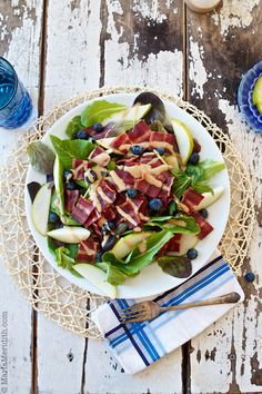 Bacon, Pear & Blueberry Salad | recipe on FamilyFreshCooking.com