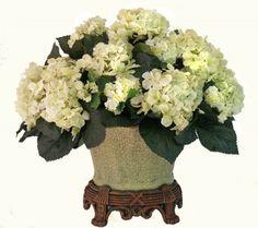 Cream Hydrangea Silk Floral Centerpiece AR256