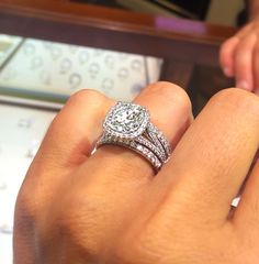 Chose our wedding bands today. Stacked setting. 4ct cushion cut center. 6cttw. LOVE! #weddingbands
