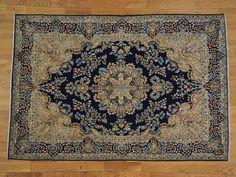 8' x 11' Navy Blue Persian Kerman 100% Wool Hand Knotted Oriental Rug -