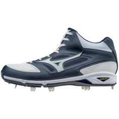 Mizuno Dominant Ic - Mid Baseball Cleat Mens Size 15 In Color Navy-White Girls Football Boots, Baseball Shoes, Baseball Cleats, Baseball Outfits, Snowboard Girl, Batting Gloves, Shoe Crafts, Skateboard Girl, Burton Snowboards